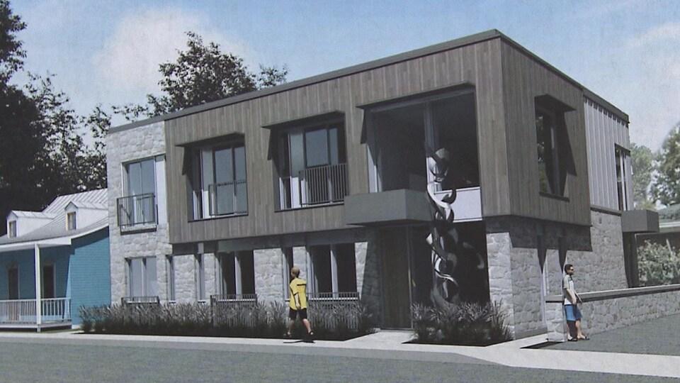Une représentation d'un bâtiment sur deux étages en pierres et bois qui deviendra la maison Jacques-Parizeau