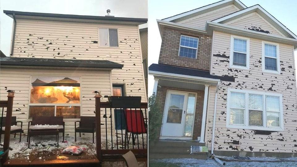 Un montage photo de deux maisons avec le revêtement extérieur arraché.