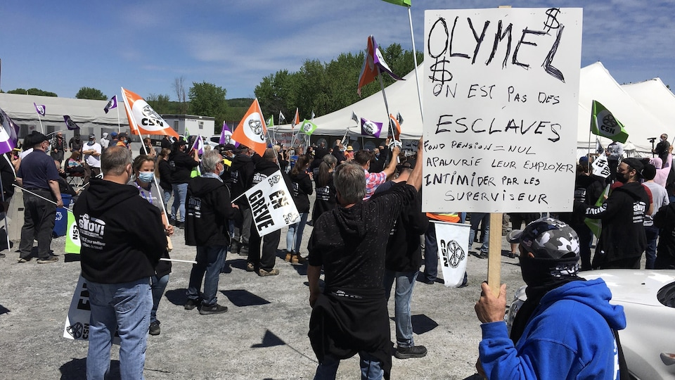 Un groupe de manifestants avec des pancartes et drapeaux.