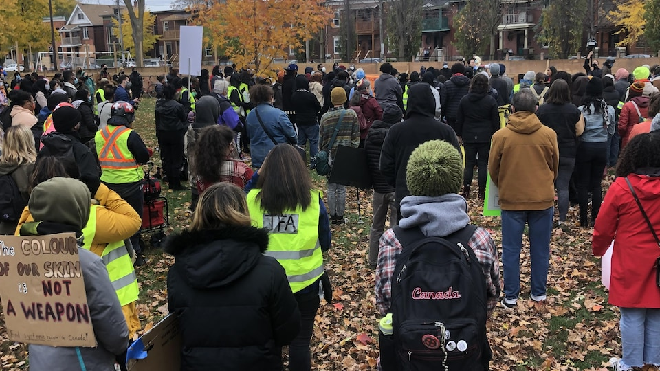 Plus d'une centaine de personnes se tiennent debout dans le parc McNabb à Ottawa. Elles écoutent quelqu'un prononcer un discours.
