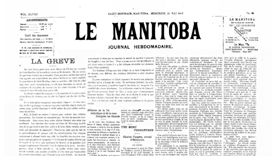 Une du journal francophone Le Manitoba du 21 mai 1919.