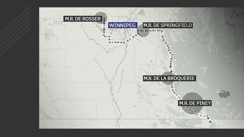 Une carte du sud-est du Manitoba où on peut voir le passage de la ligne de transmission d'Hydro-Manitoba, Manitoba-Minnesota.