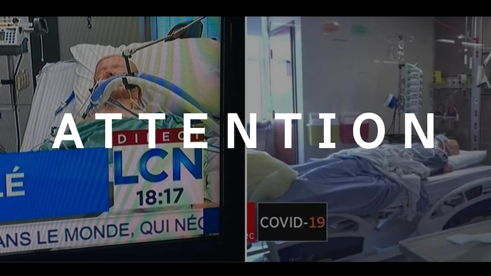Des photos de mannequins dans des lits d'hôpitaux. Le mot ATENTION est superposé à l'image.