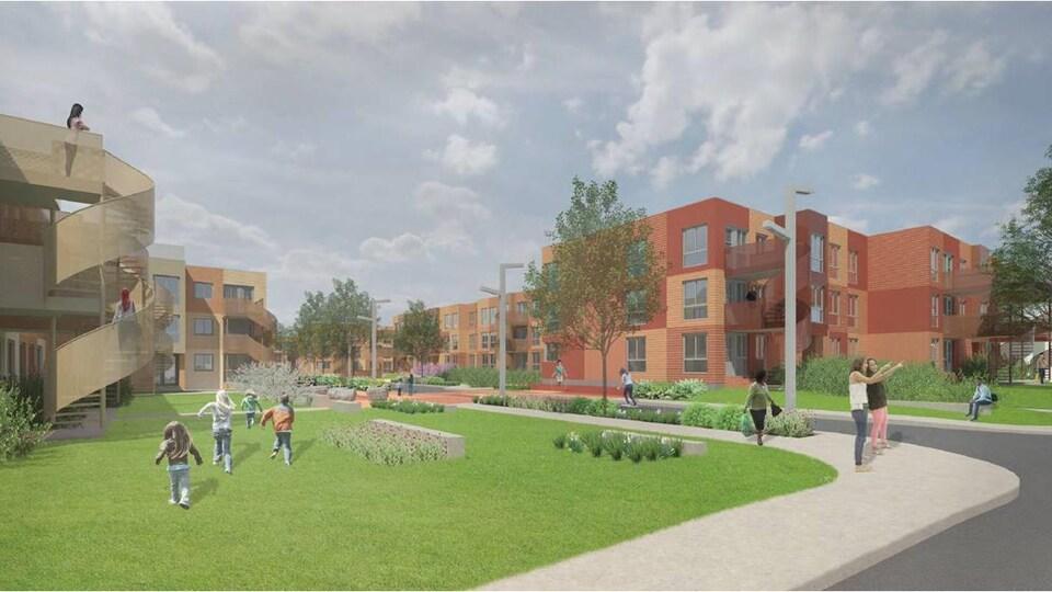 Maquette des nouvelles habitations Saint-Michel Nord.