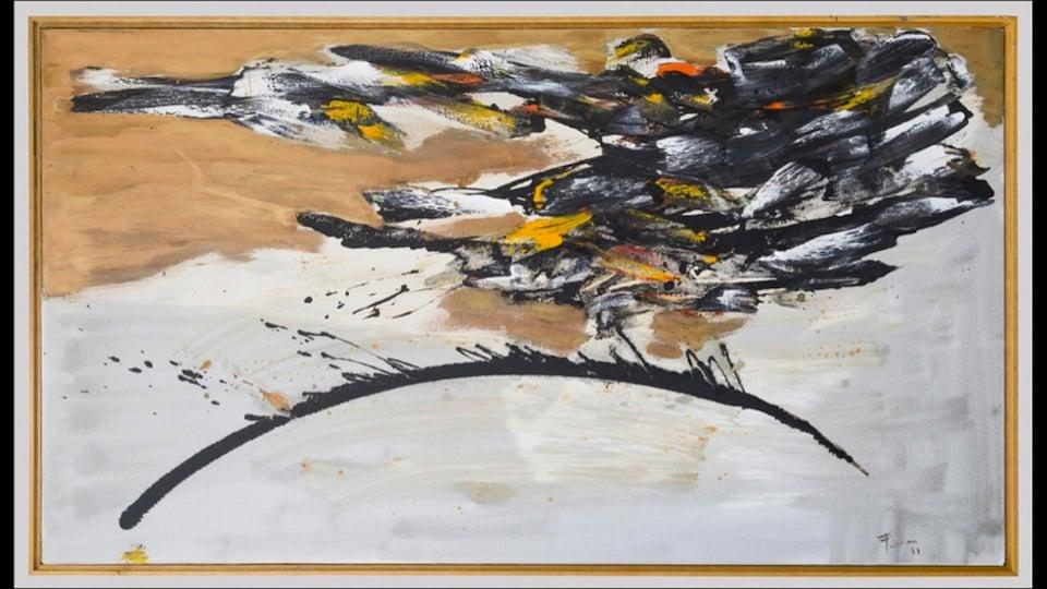 Marcelle Ferron, Vue de la terra, Huile sur toile, 40 X 72 pouces, 1991