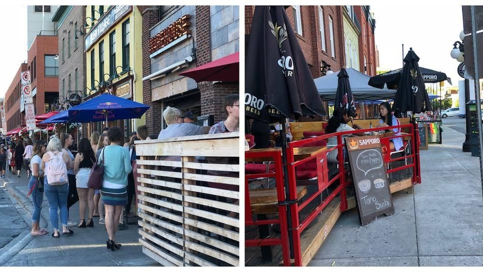 Deux images côte-à-côté de terrasses dans le marché By d'Ottawa.