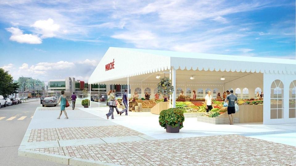 Esquisse du marché saisonnier : la Ville de Québec va détruire le bâtiment actuel du marché du Vieux-Port pour le remplacer par des installations temporaires ouvertes de mai à octobre.