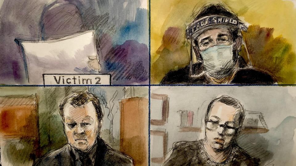 Une illustration judiciaire représentant 4 personnes à l'audience, soit deux commissaires, Marco Muzzo et le père des 3 petites victimes.