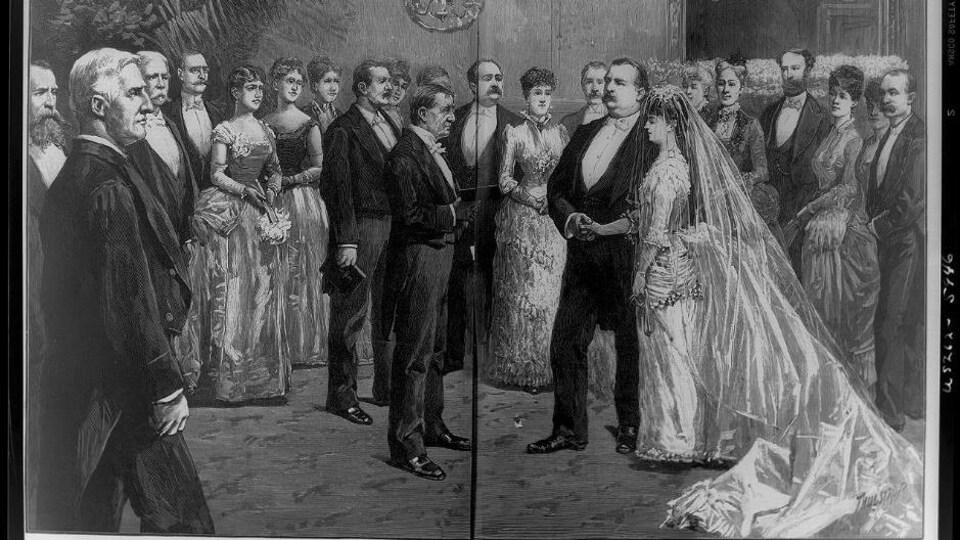 Image du mariage de Grover Cleveland avec Frances Folsom.