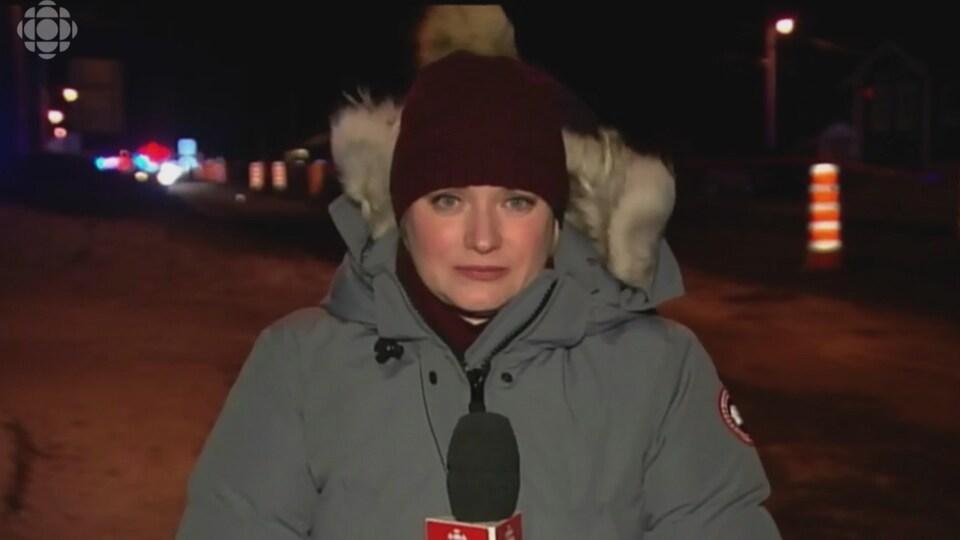 La chef d'antenne Marie-Christine Gagnon lors du téléjournal de 18 h le 23 janvier 2014.
