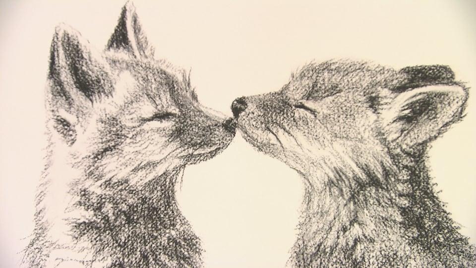 Un dessin représentant deux renards se touchant le museau.
