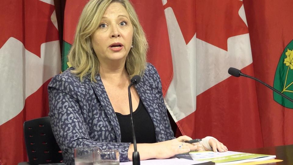 La députée néo-démocrate Marit Stiles réagit au rapport de l'Ombudsman 2018-2019 dans une conférence de presse.