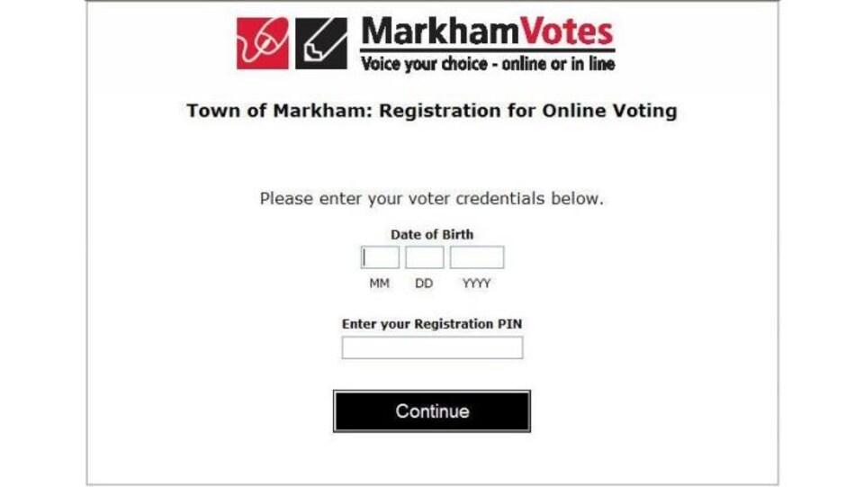 Écran d'enregistrement pour le vote en ligne