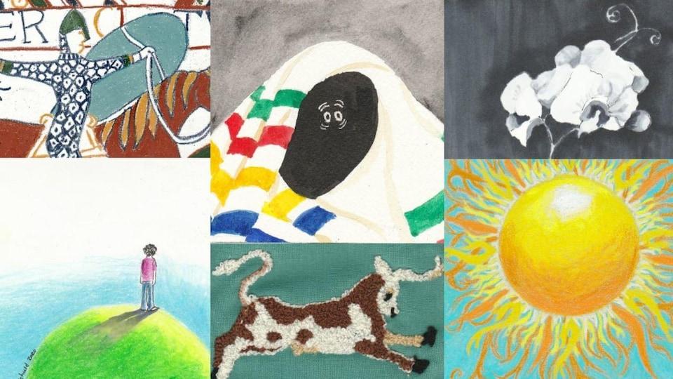 Montage avec six oeuvres réalisées par Marsha Schuld.