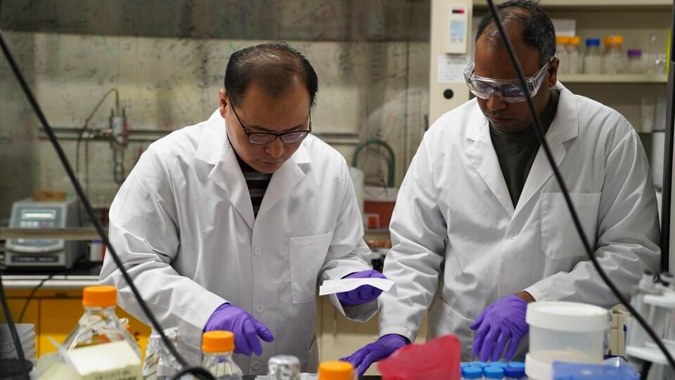 Hyo-Jick Choi et Surjith Kumaran travaillent dans un laboratoire.