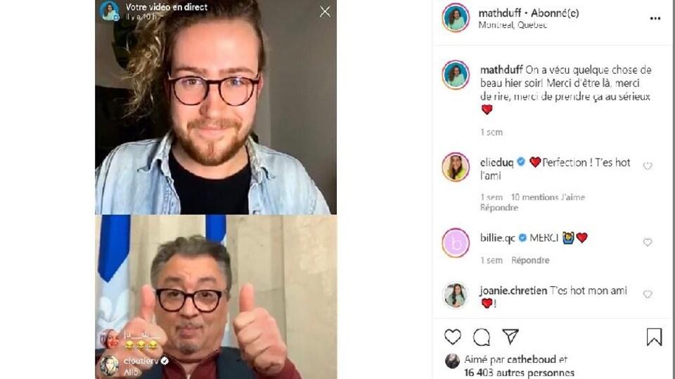 L'humoriste Mathieu Dufour en direct avec le docteur Horacio Arruda sur Instagram.