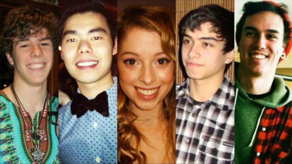 De gauche à droite : Zackariah Rathwell, Lawrence Hong, Kaitlin Perras, Jordan Segura et Joshua Hunter.