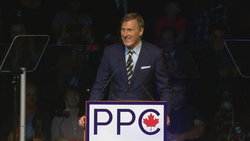 Maxime Bernier lors du lancement de campagne nationale du Parti populaire du Canada, en Beauce.