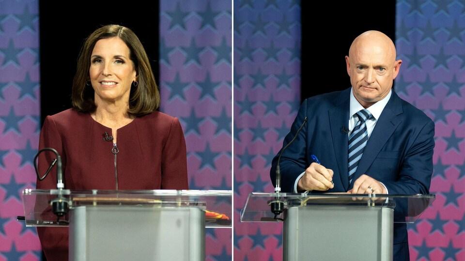 Montage de deux photos des candidats, regardant devant eux avec un léger sourire devant un lutrin, prises lors d'un débat. Mark Kelly tient un stylo.