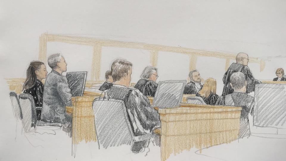 Un dessin où l'on voit Mme Meng, en robe à pois, aux côtés d'un interprète et entourée d'avocats, la juge est au fond.