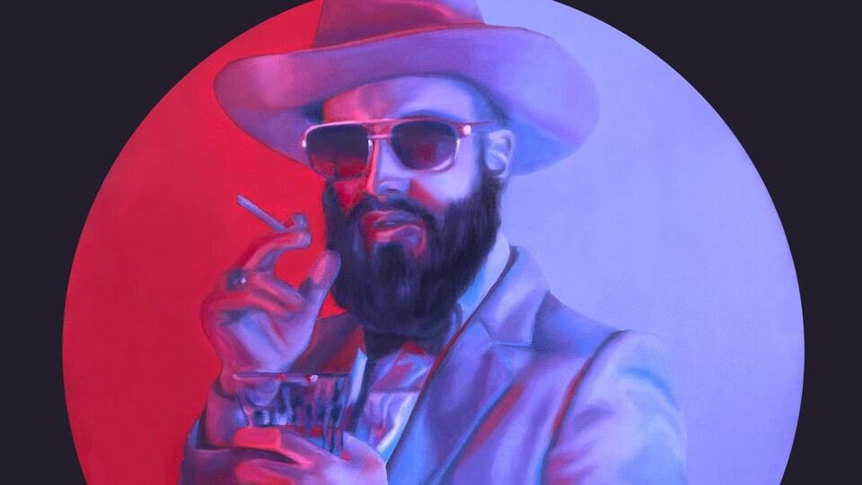Peinture de Menoncle Jason, une cigarette et un verre de scotch à la main.