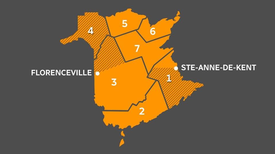Les régions touchées par les mesures coupe-circuits, au Nouveau-Brunswick.