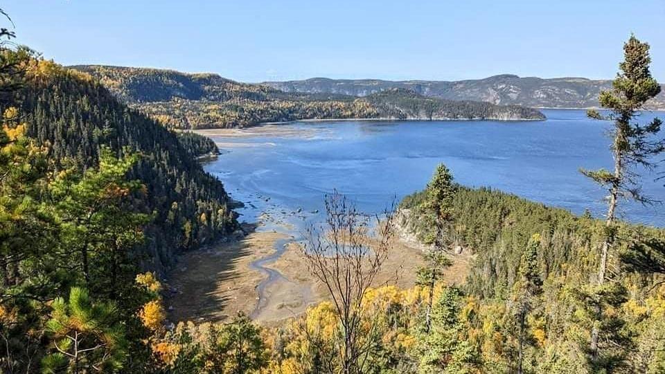 Une baie l'automne vue de loin.