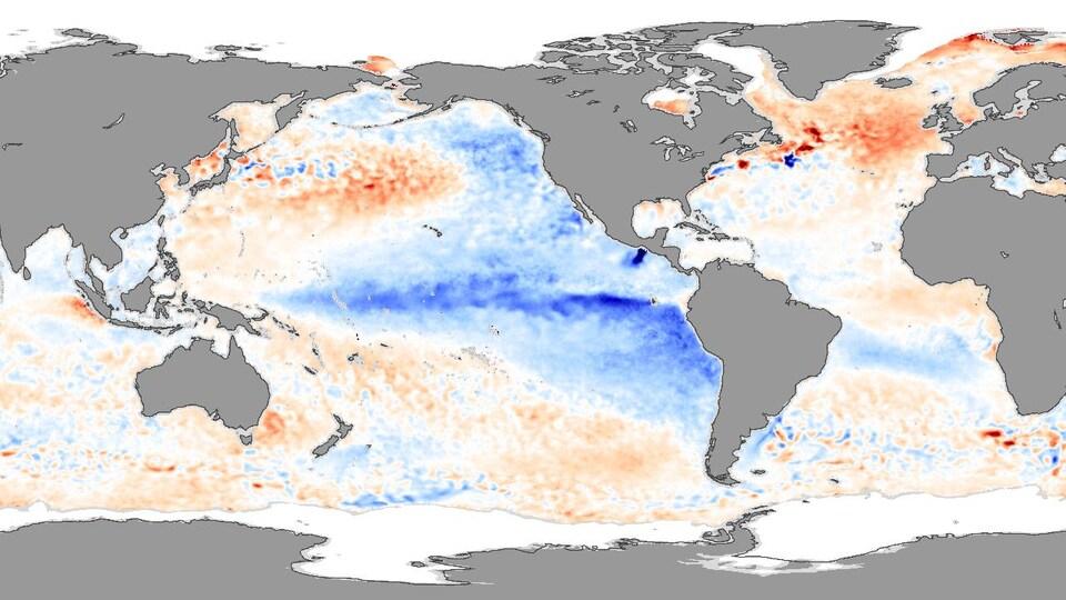 Carte montrant un épisode  La Niña dans le Pacifique.