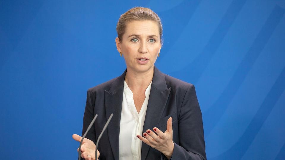 Mette Frederiksen lors d'une rencontre avec Angela Merkel en juin 2019.