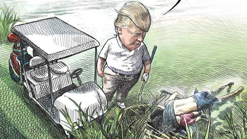 La caricature en question montre le président Trump à côté de sa voiturette de golf, fixant deux migrants morts au sol.