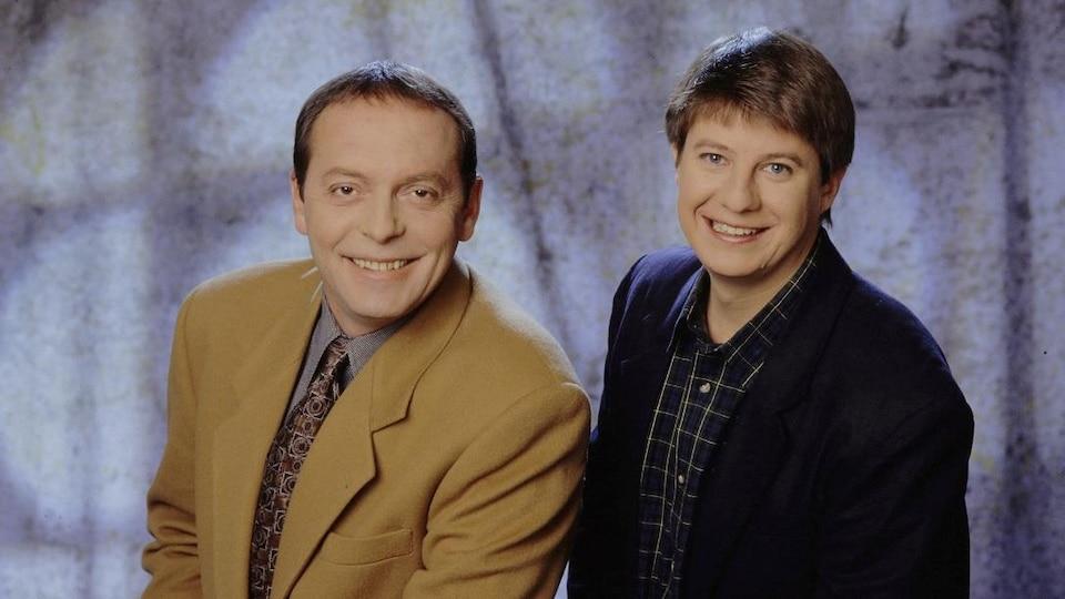 Les journalistes Michel Désautels et Philippe Cantin.