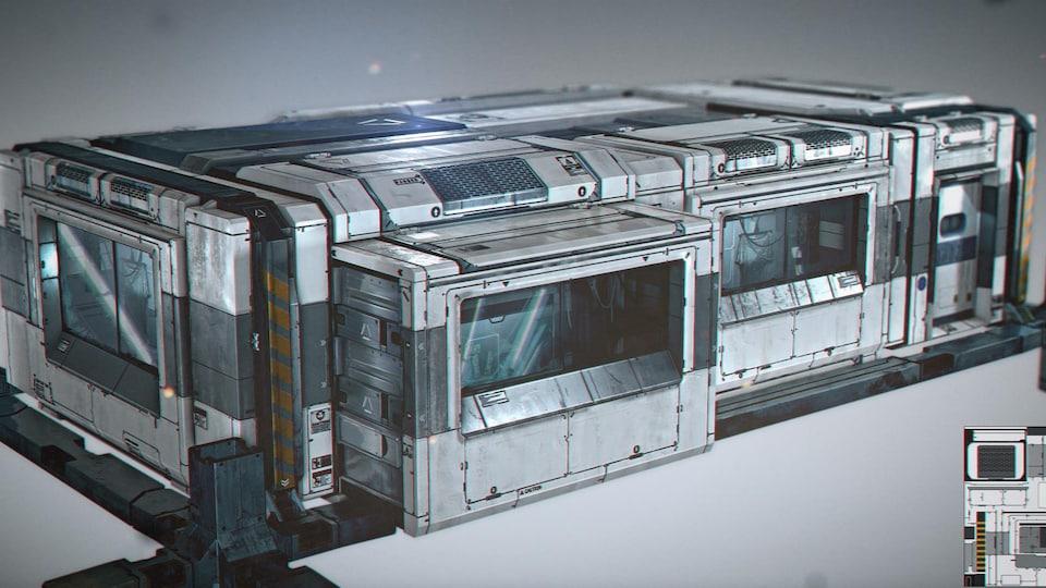 Exemple d'une maison créée par l'artiste de niveau pour la scène du village Golem pour le jeu Deus Ex : Mankind Divided