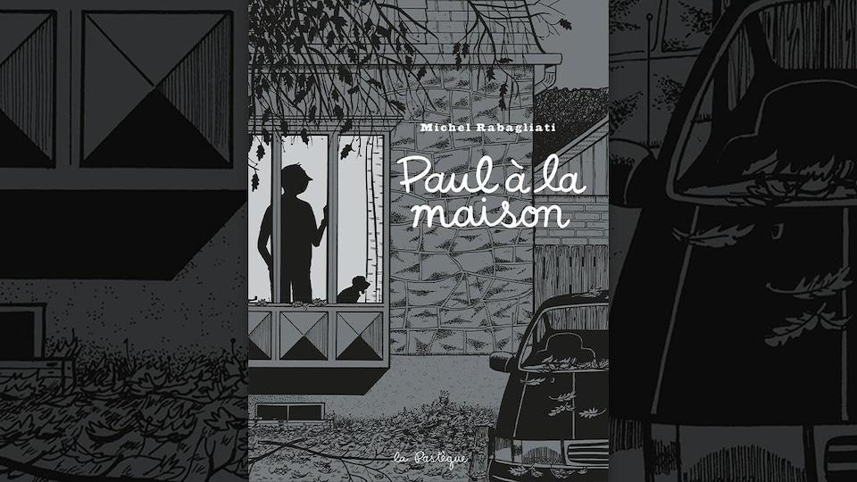 Illustration en noir et blanc représentant les silhouettes d'un personnage et d'un chien, vues à travers la fenêtre d'une maison.