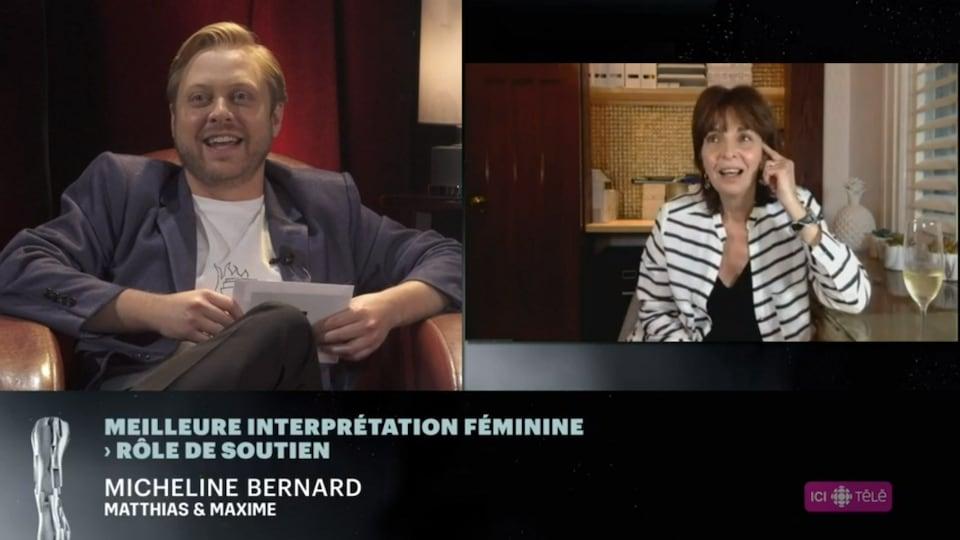L'animateur et l'actrice se parlent par vidéoconférence.