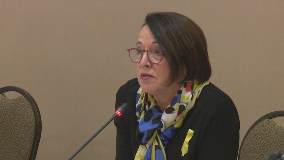 Michelyne Paulin, présidente du conseil d'administration du réseau de santé Vitalité, au micro en conférence de presse.