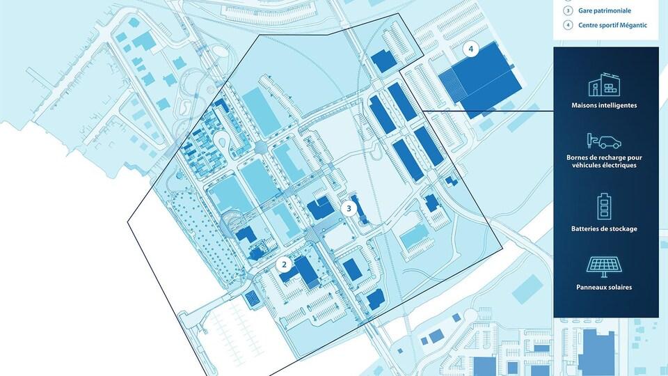 Un plan du centre-ville de Lac-Mégantic.