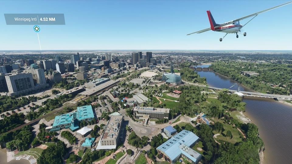 Un avion survole un parc.