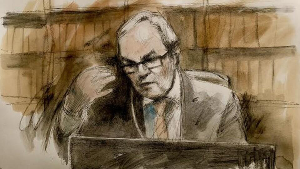 Un dessin de l'avocat de la défense.