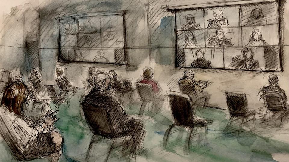 Une illustration judiciaire de la salle de débordement virtuelle.