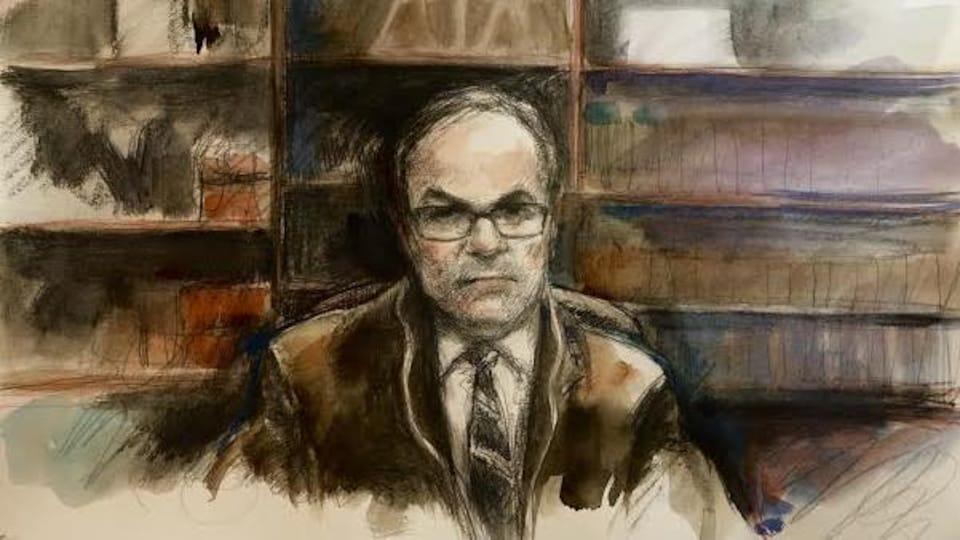 Une illustration judiciare de l'avocat de la défense, Boris Bytensky.