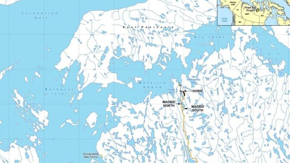 Une carte montrant le site de la mine d'or Doris North, au Nunavut.