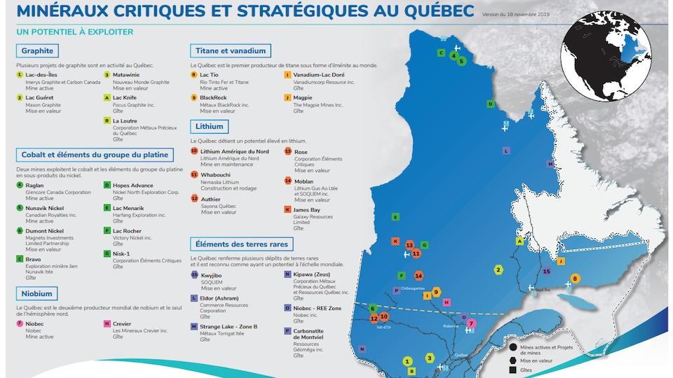 Carte du Québec identifiant les minéraux critiques et stratégiques qui pourraient être potentiellement exploités.