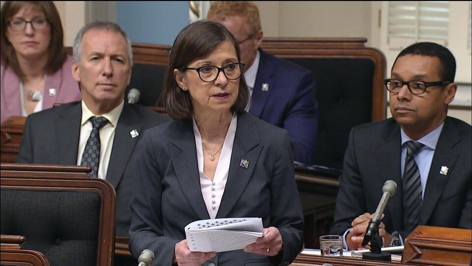 Danielle McCann s'adresse à l'Assemblée nationale.