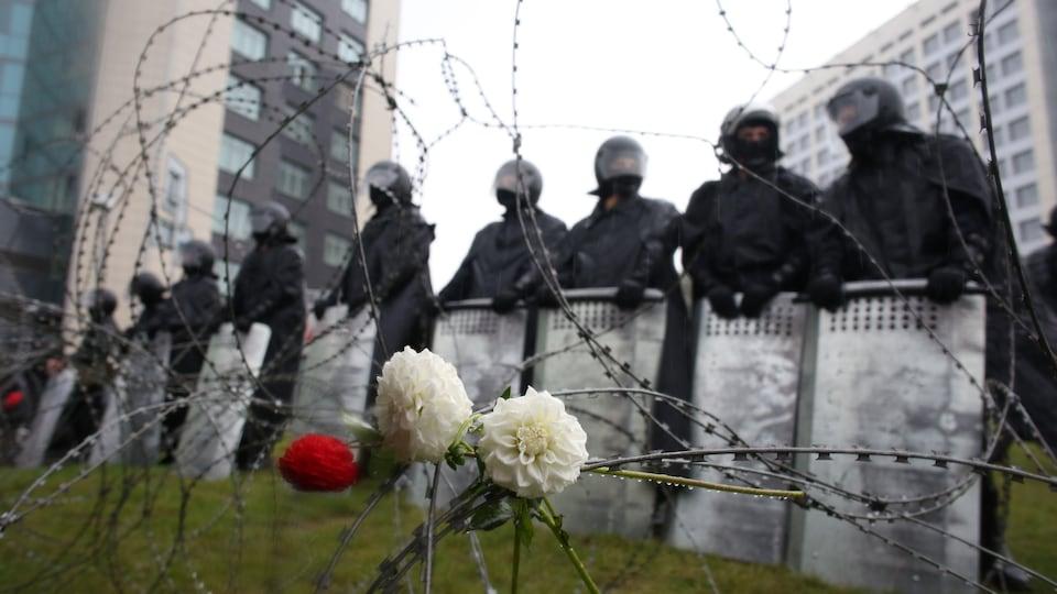 Des fleurs attachées à une clôture de fil de fer barbelé.