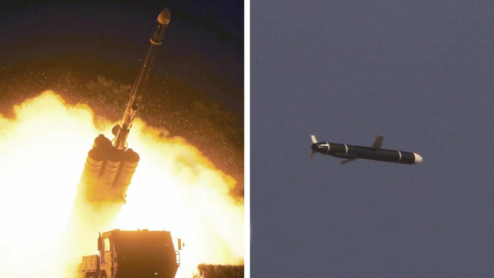 On peut voir d'un côté le lancement d'un missile, de l'autre un missile dans les airs.