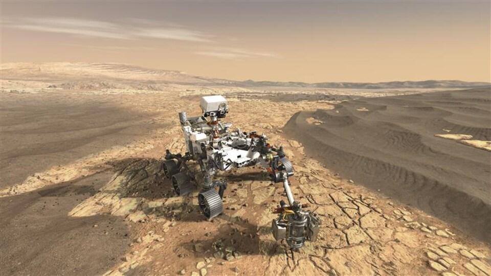 Vue d'artiste du rover Perseverance sur la surface accidentée de la planète rouge.
