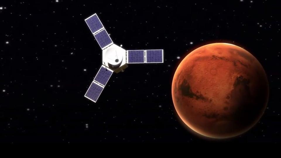 Illustration montrant la sonde Al-Amal en orbite autour de Mars.