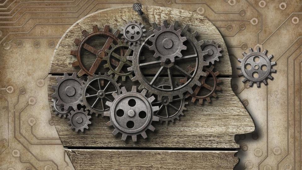 Illustration d'un cerveau avec des roues