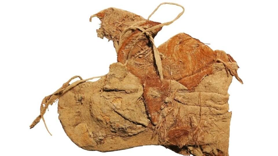 Un mocassin en cuir bien conservé.