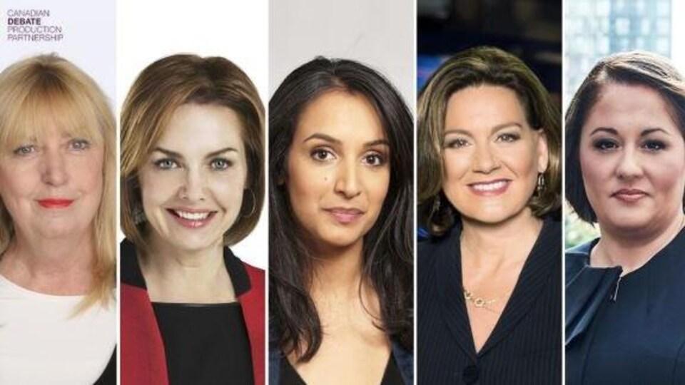 Photomontage de Susan Delacourt, Dawna Frisen, Althia Raj, Lisa LaFlamme et Rosemary Barton.